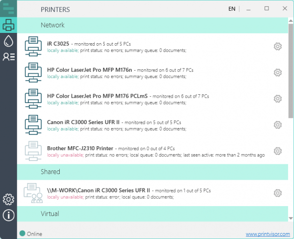 PrintVisor: monitoring of network, shared and virtual printers