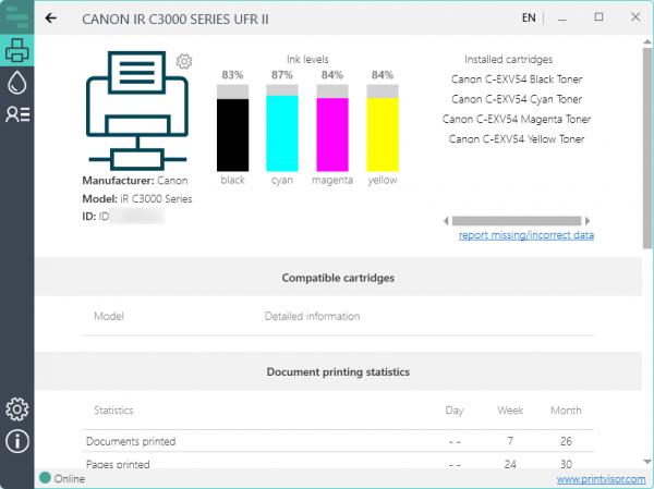 Printer profile: ink levels, installed cartridges, compatible cartridges