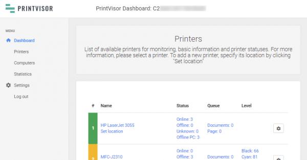 PrintVisor Admin Panel (web-based dashboard)