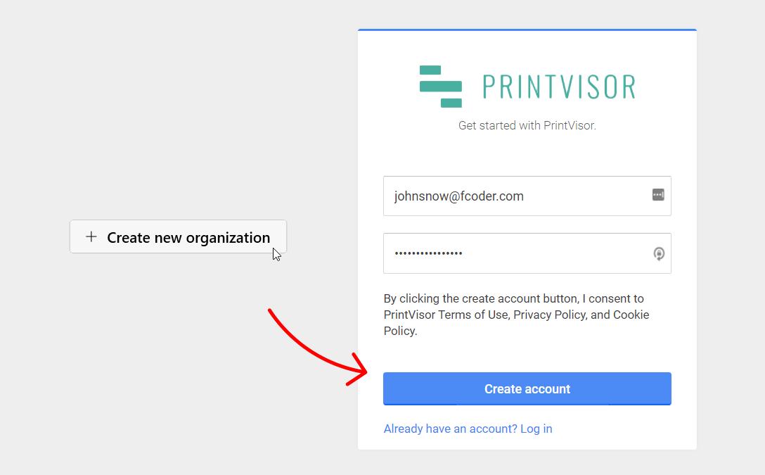 Create a new company account