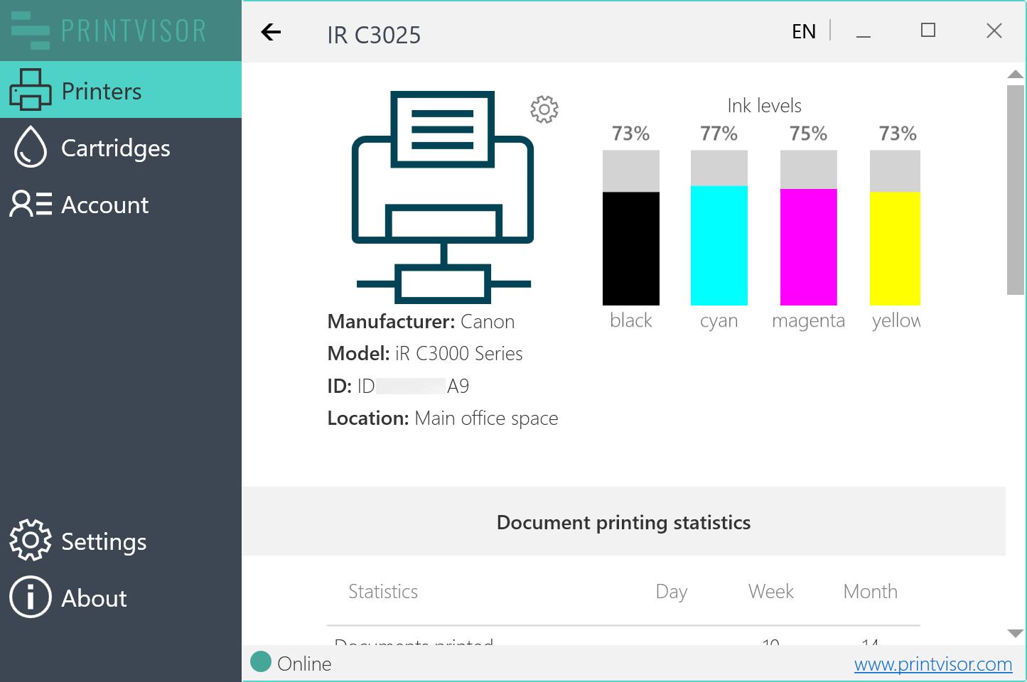 PrintVisor interface overview
