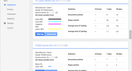 Monitor your printing from PrintVisor's web dashboard