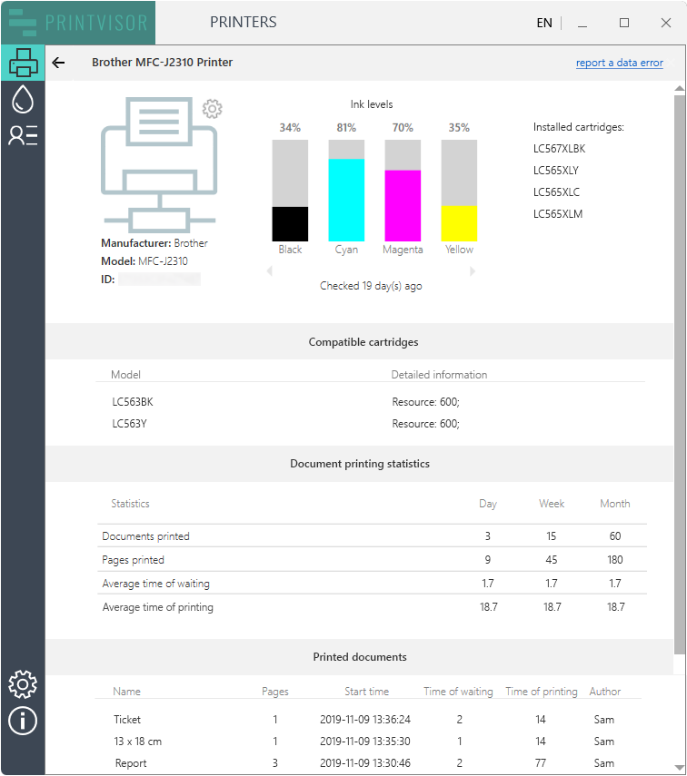 PrintVisor can track printer usage and display print summary