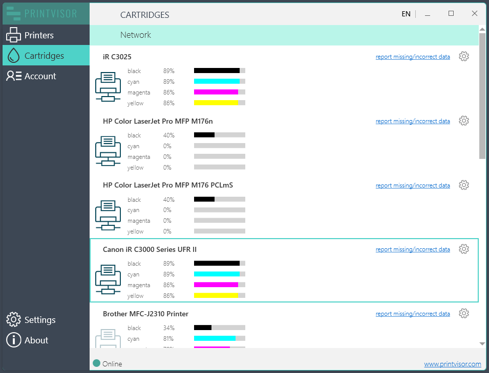 See ink & toner levels in one interface